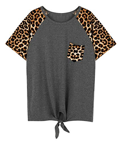 Leopard Print Short Sleeve Tops for Women Front Tie Color Block Chest Pocket Casual Basic Tees Tops Size M (Grey)