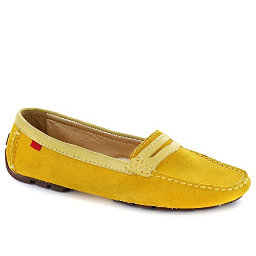 Womens Genuine Leather Made in Brazil Union Street Marc Joseph NY Loafer Yellow Suede