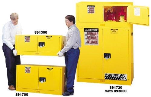 Justrite 891303 Sure-Grip EX Galvanized Steel 2 Door Manual Close Piggyback Flammables Safety Storage Cabinet, 12 Gallon Capacity, 43