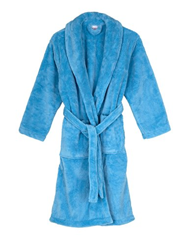 TowelSelections Big Girls' Robe, Kids Plush Shawl Fleece Bathrobe Size 10 Air Blue by TowelSelections