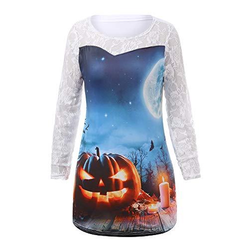 Malbaba Christmas Costume, Womens Happy Halloween Pumpkin Long Sleeve Shirt Casual Lace Blouse Tops T -