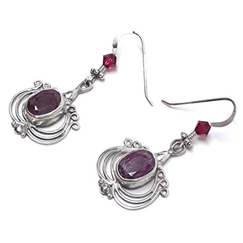 Faceted Genuine Natural Ruby Sterling Silver Lyre Charm OOAK Earrings (Charm Nouveau Ruby)