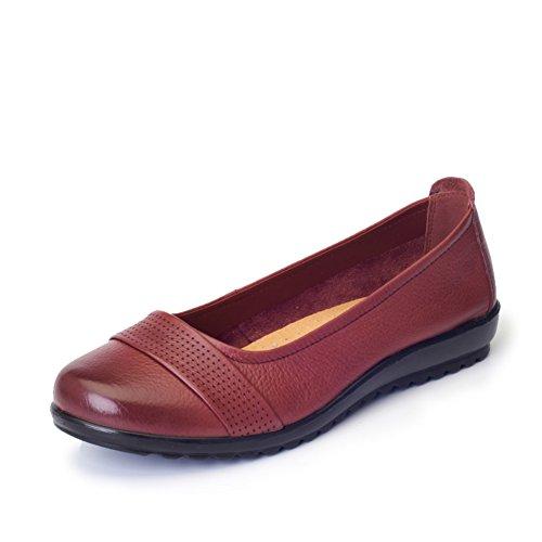 Cuero suave zapatos inferiores/Spring solos zapatos de la boca redonda poco profunda/ los zapatos de tacón bajo plano de la manera A