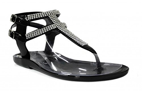 Rhinestone Sandal Footwear Sandals (Kali Footwear Little Girl's Clara Jr. Jelly T-strap Rhinestone Flat Gladiator Sandals, Black 2)