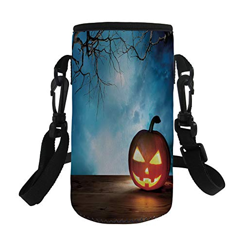 Small Water Bottle Sleeve Neoprene Bottle Cover,Halloween,Traditional Celebration Icon Pumpkin on Wooden Board Fantasy Midnight Sky Trees,Multicolor,Great for Stainless Steel and Plastic/Glass Bottles