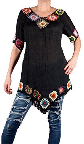 Sommer Häkel Tunika assymetrisch Kleid Shirt zipfelig 36 38 40 42 S M L Blau Strand Urlaub