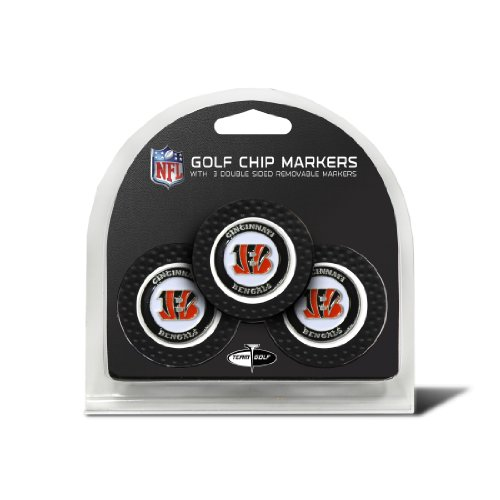 Team Golf NFL Cincinnati Bengals Golf Chip Ball Markers (3 Count), Poker Chip Size with Pop Out Smaller Double-Sided Enamel Markers