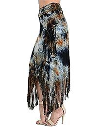 Fringe Maxi Skirt Tie Dye wrap cross over long fold waist rayon small medium large