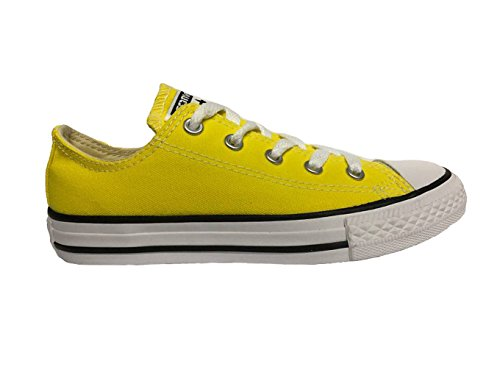 Contrast Leather Sneaker Yellow (Converse Kid's Chuck Taylor All Star Seasonal Ox Fashion Sneaker Shoe - Fresh Yellow - Boys - 2)