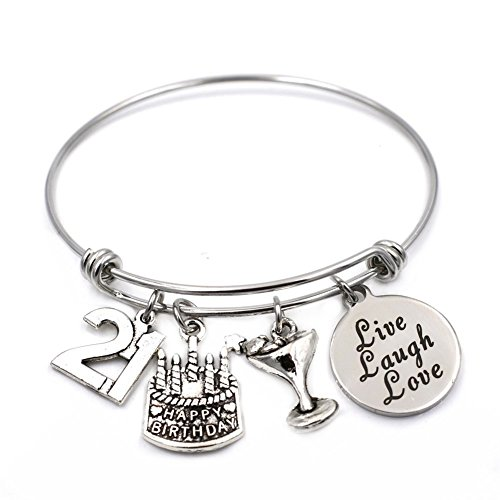 Stainless Steel Expandable Wire Bangle 21st Happy Birthday Bracelet Jewelry Gifts for 21 Year Old Girls (Gifts For Her Birthday)