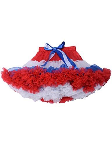 Baby Girls Tulle Tutu Skirt Princess Fluffy First Birthday Party Dance Pettiskirt Red White Blue M ()