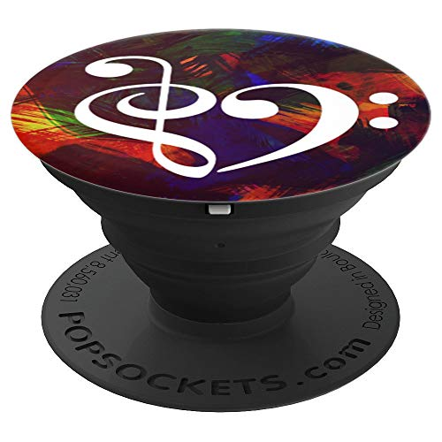Treble Clef Bass Clef Heart Abstract Paint Strokes Bassist - PopSockets Grip and Stand for Phones and Tablets