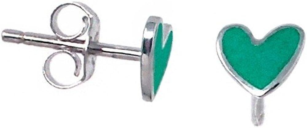 Pendientes plata Agatha Ruiz de la Prada 6mm. corazón verde [AB5705]
