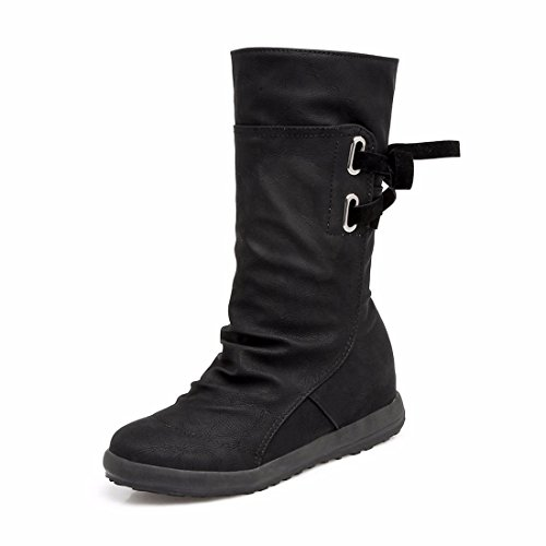 European winter boot Black back boots Martin code tie boots wCwgaxTq