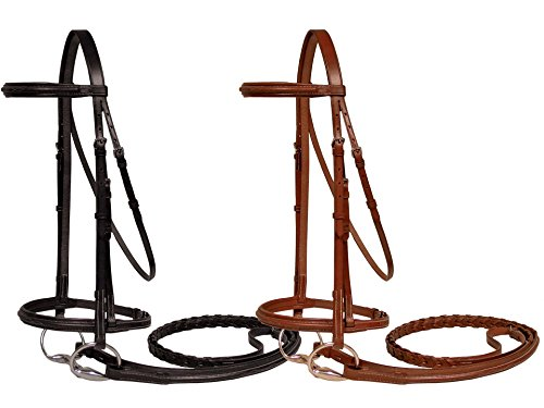 Paris Tack Padded Fancy Stitch Bridle with Laced Reins, Chestnut, Pony Size ()