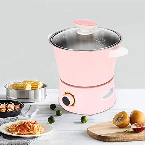 Stainless Steel Electric Hot Pot, Mini Multi-Function Electric Pot Cooker Rapid Noodles Cooker Frying Pan Double Layer Cooker, US Plug