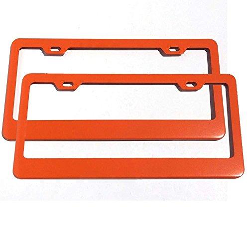 Set of 2 License Plate Frames Holders Powder Coated Wide Bottom Style (ORANGE)
