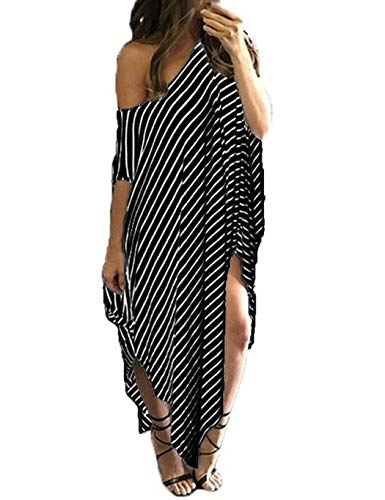 Idomeo Womens Maxi Dress Off The Shoulder Asymmerical Design Striped Pattern Loose Oversized Dresses Black