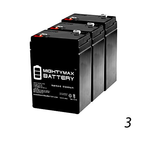 Mighty Max Battery ML4-6 - 6V 4.5AH General 00648 Sealed Non-Spillable Emergency Light Battery WKA6-5F - 3 Pack brand product