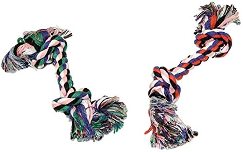 EMG Pet Emporium Dog Rope Toys (2pk) | Knotted Chews | Interactive Play Toys for Dogs | Teething Ropes | Fetch & Retrieve Games Idea for Dog Lovers