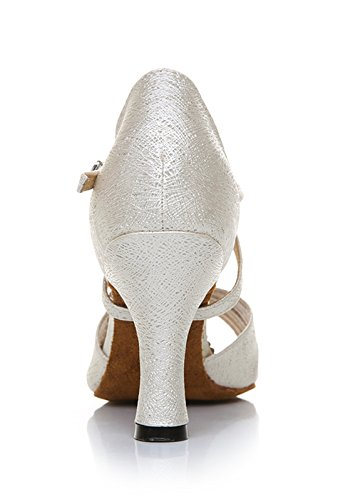 Latin Women's Satin Beige Ballroom Salsa Ankle Wedding Modern Strap TDA Shoes Glitter Fashion Dance Tango UwzxpfznqA