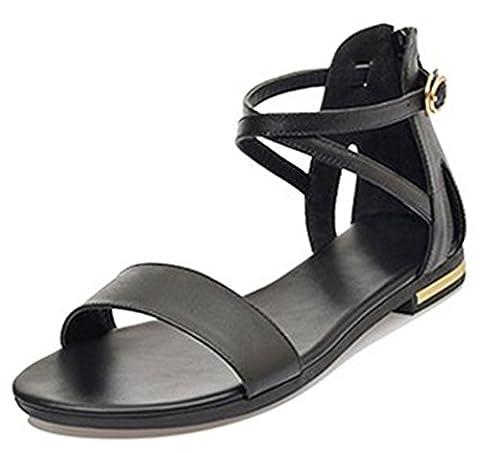 EaseMax Women's Open Toe Ankle Strap Flat Back Zipper Gladiator Sandals Black 10 B(M) US