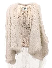 Uilor Knit Rabbit Fur vest With Turn-down Collar For Women