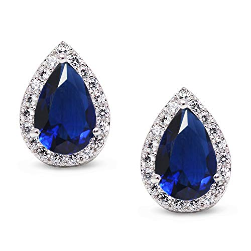 SWEETV Teardrop Bridal Earrings for Wedding, Prom - Elegant Cubic Zirconia Stud Earrings for women, brides, bridesmaids,Blue ()