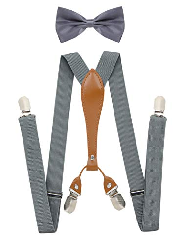 Dark Grey Bow Tie and Suspenders for Men X-Shaped Back Suspenders Bow tie Set