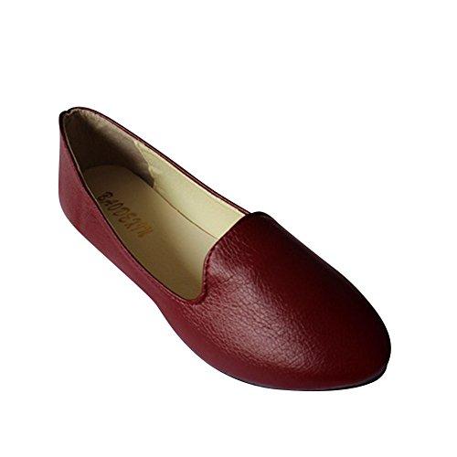 MISSMAO Womens Flat Pumps Ladies Stunning Ballet Ballerina Dolly Bridal Shoes Red 2 RkVU34