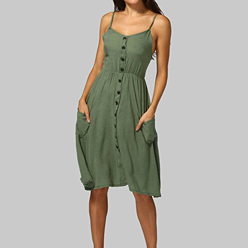 Mujeres Vestir Verde Bolsillos Elegante Botones Playa de Falda de Vestido Playa Fiesta Ropa Ejército Vestidos Verano Camisa Sóli sin para Casual de Niña Corto Vestidos Mini Manga Mujer con Vestido Rpx0q7