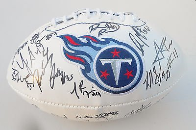 2015 Tennessee Titans Team Signed Logo Football w/COA