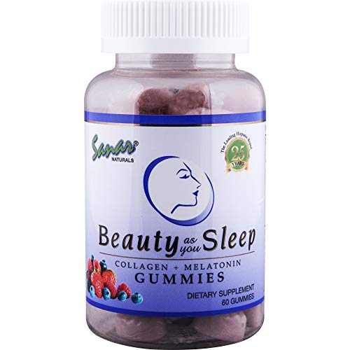 Sanar Naturals Collagen Gummy Beauty Sleep Aid (60 Count) - Melatonin and Hydrolyzed Collagen Supplement for Women Men Hair Growth, Skin, Nails, Joints, Gomitas Colageno Hidrolizado y Melotonina