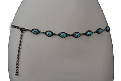 TFJ Women Fashion Metal Chains Belt Hip Waist Silver Turquoise Blue Beads XS S M