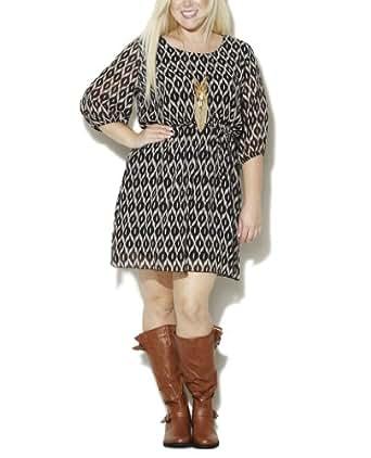 Wet Seal Women's Tribal Chiffon 3/4 Dress 3X Black