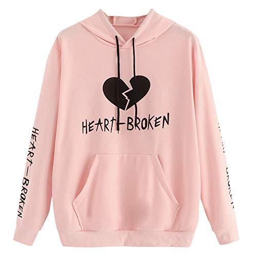 - DEATU Sale Teen Sweatshirt Tops I Speak Fluent Sarcasm Printed Ladies Casual Hoodie Heart Broken Long Sleeve Pullovers(B-Pink,Medium)