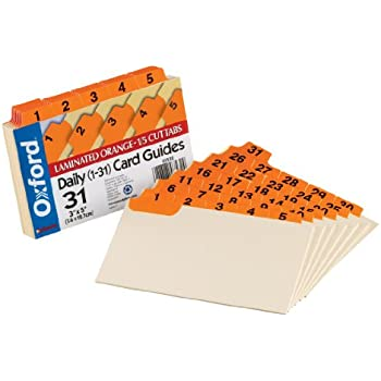 "Oxford Index Card Guides with Laminated Tabs, Daily (1-31), 3"" x 5"" Size, Orange, 31 Guides per Set (3532)"