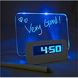 LED Light Fluorescent Message Board Digital USB HUB Wall Alarm Clock Gift