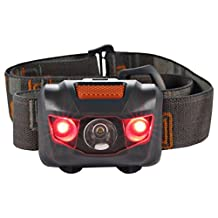 Sanberd LED Headlamp - Great for Camping, Hiking, Biking and Kids. One of the Brightest and Lightest Headlight. Water & Shock Resistant Flashlight with Red Strobe. (Black)