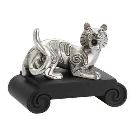 Royal Selangor Hand Finished Chinese Zodiac Collection Pewter Tiger Zodiac Figurine with Black Bonded Porcelain Base