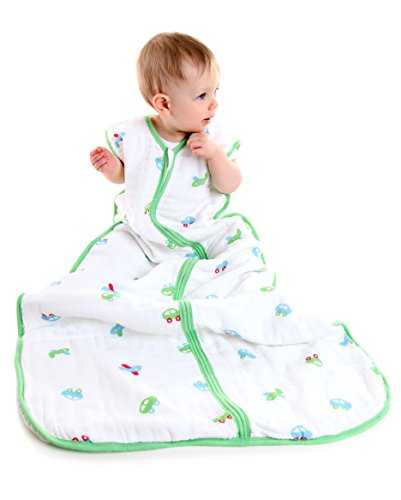 - Slumbersafe Baby Muslin Summer Sleeping Bag Wearable Blanket 0.5 Tog Cars 6-18 months/MEDIUM