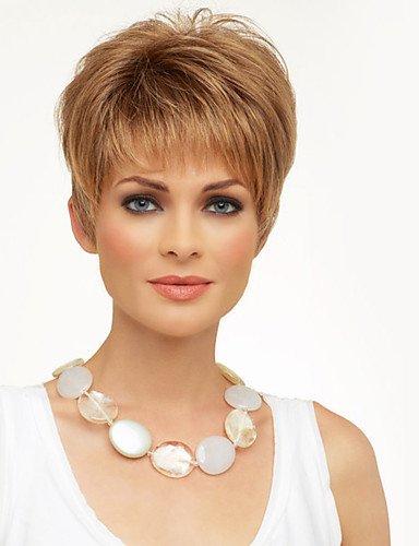 Ahom pelucas moda de la manera boga pequeña recta sin tapa cabello humano peluca natural,