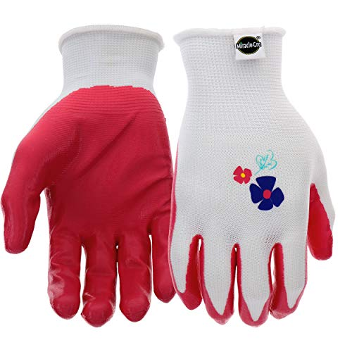 West Chester Miracle-Gro MG37121 Stretch Knit Gardening Gloves with Nitrile Coated Palm: Women