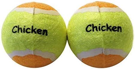 Pelotas de tenis para perros con pollo Sabor | Pack de 2 ...