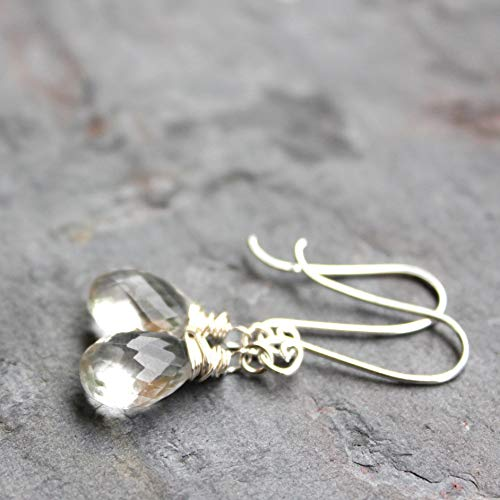 Petite Crystal Quartz Earrings Sterling Silver Dangling Drops Clear Faceted Stones Wire Wrapped (Earrings Petite Crystal)