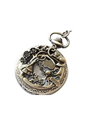 Alice in Wonderland Pocket Watch Pendant Necklace with Charm Chain Jewelry