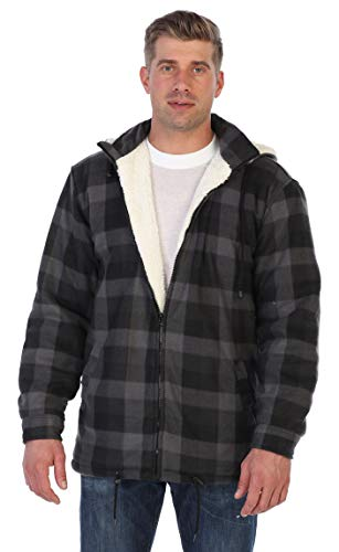 Gioberti Mens Sherpa Lined Flannel Jacket with Removable Hood, Charcoal Checkered, XXL (Quilted Flannel Jacket)