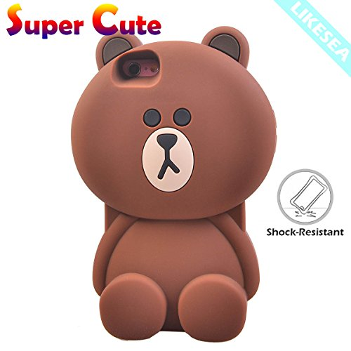 LIKESEA Lovely Teddy Bear 3D Cartoon Soft TPU Silicone Protective Case Cover for Apple iPhone 6s Plus / 6 Plus (5.5