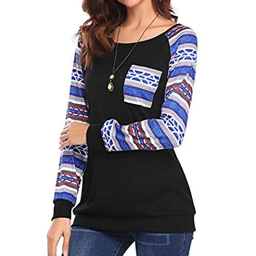 Clearance Printed Splicing T-Shirt Top, Duseedik Women Fashion Long Sleeve Pocket Printed Patchwork Blouse Tops (Tongue Ring Iron Cross)