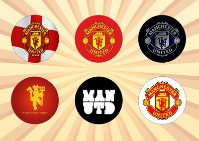 Manchester United Club (Manchester United Set of 6 - 1 Inch Pinback)